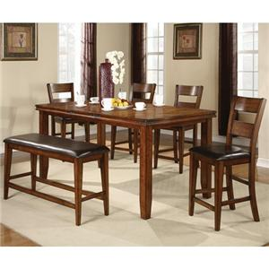 Crown Mark Figaro 5 Piece Counter Height Table and Chairs Set