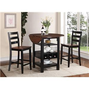 Crown Mark Kimball 3 Piece Counter Height Drop Leaf Set
