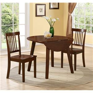 Crown Mark Liam 3 Piece Drop Leaf Dining Table and Chair Set