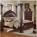 Crown Mark Neo Renaissance King Poster Bed with Decorative Scrollwork - Bed Shown May Not Represent Exact Size Indicated