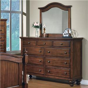 Crown Mark Sommer 9 Drawer Dresser with Mirror Combination