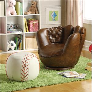 Crown Mark Sport Themed Baseball Glove Chair & Ottoman