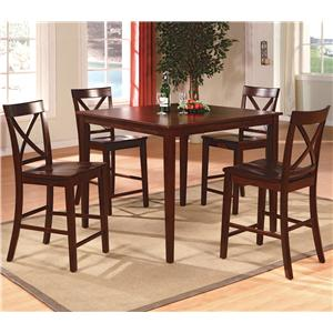 Crown Mark Theodore 5-Piece Counter Height Table Set