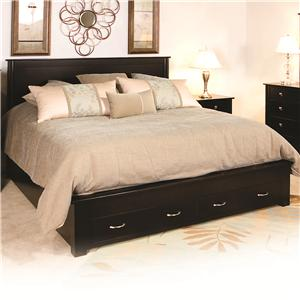King Frame Bed with 2 Footboard Drawers