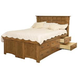 Daniel's Amish Amish Arts and Crafts Queen Storage Pedestal Bed