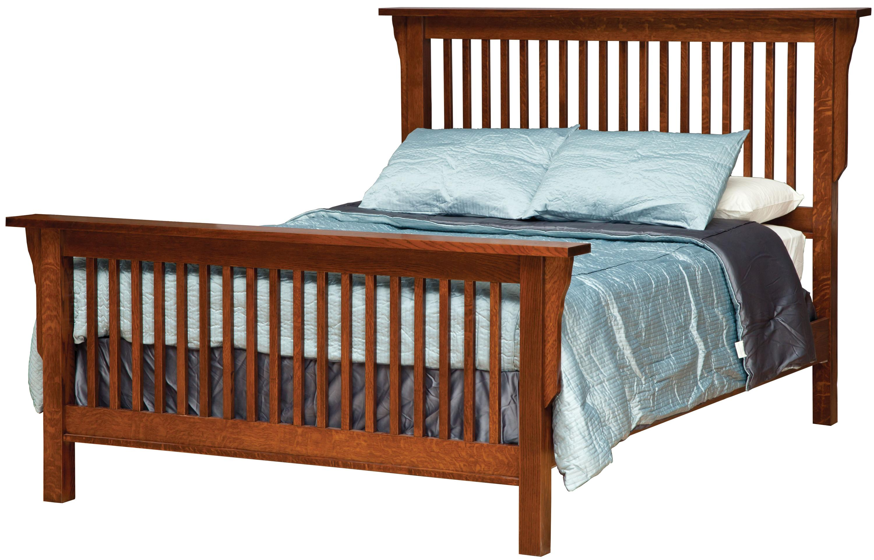 queen mission-style frame bed with headboard & footboard slat