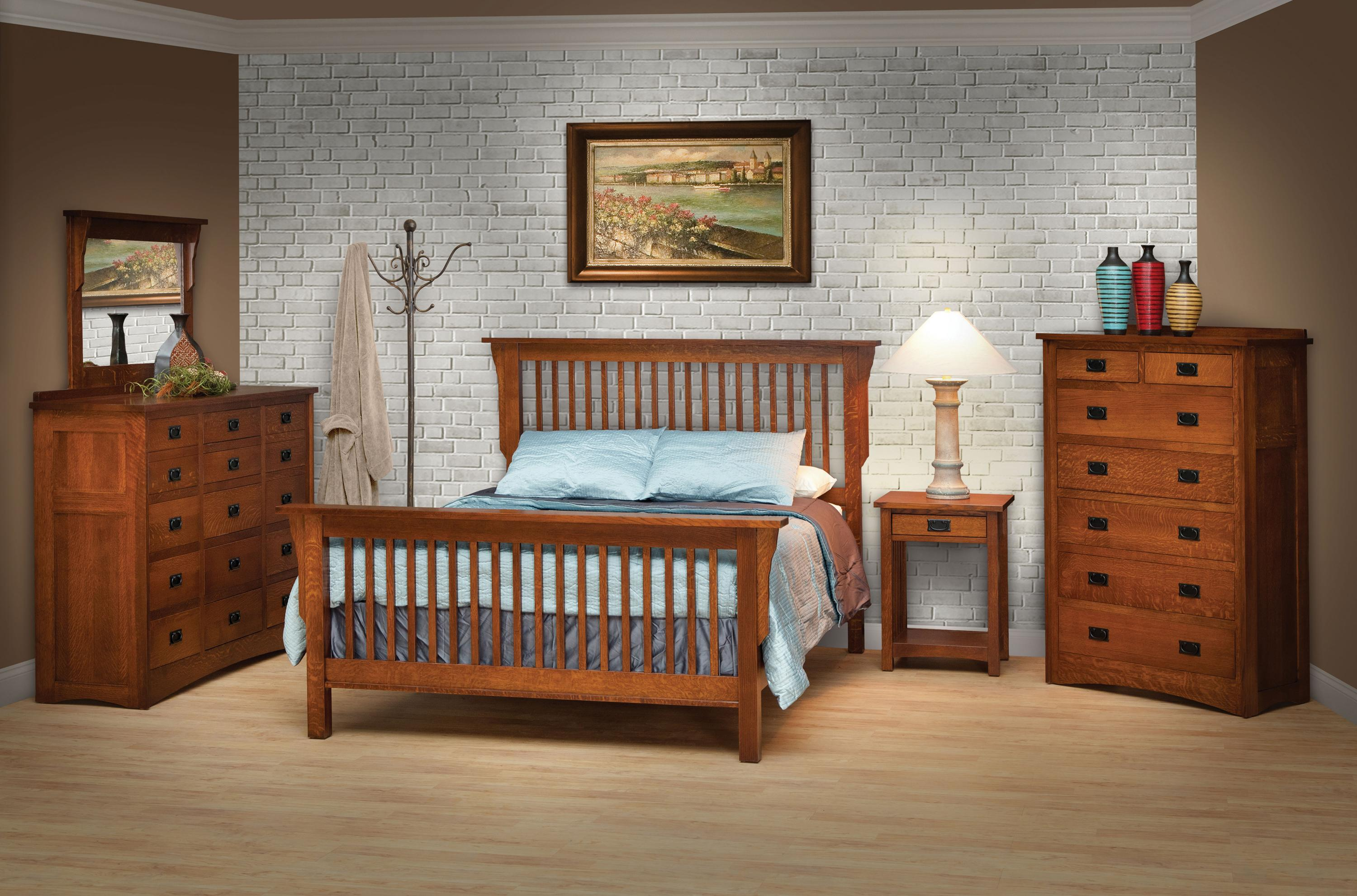 Queen Mission Style Frame Bed with Headboard & Footboard Slat