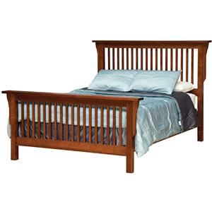 full mission style frame bed with headboard footboard slat detail