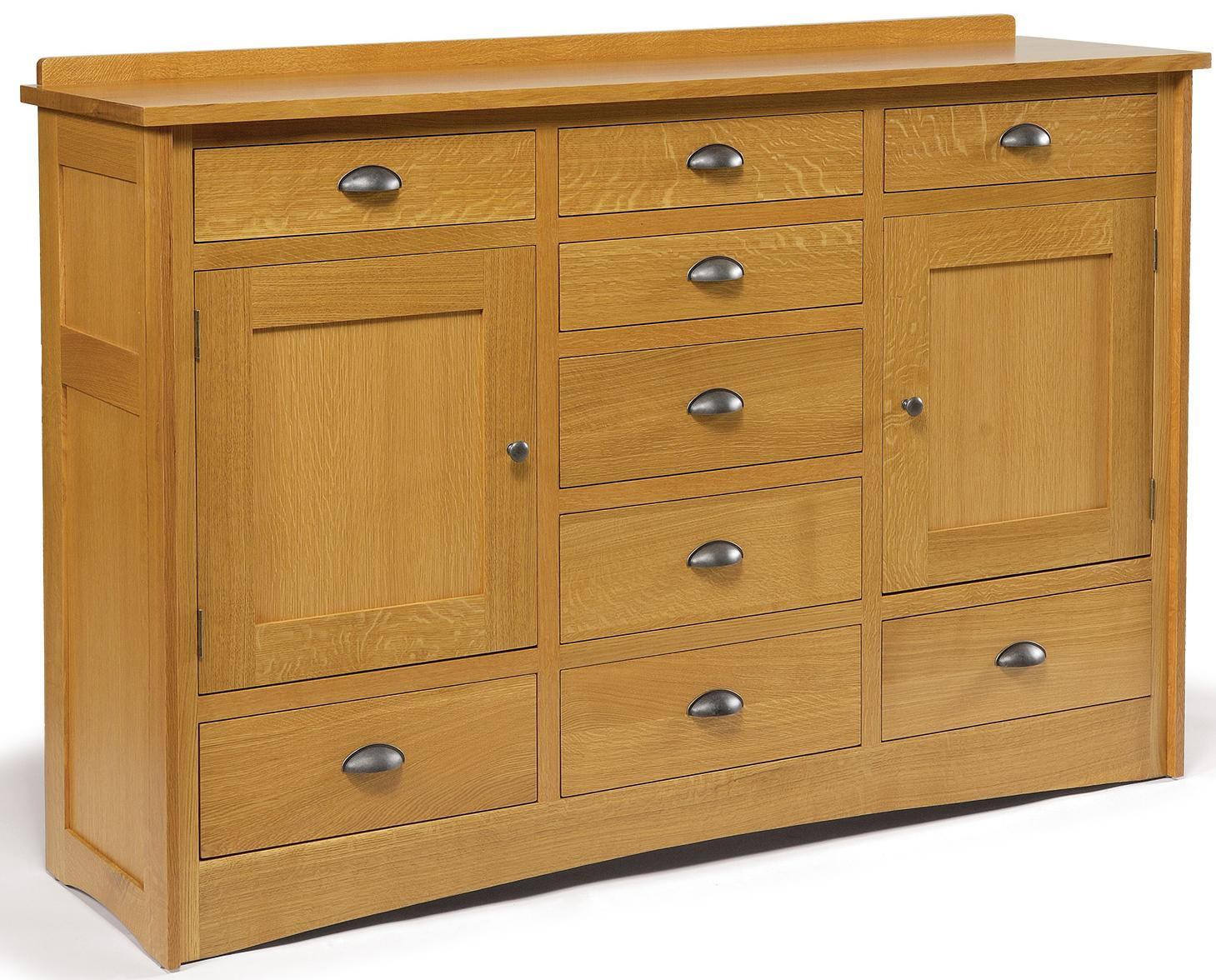 9 Drawer Solid Wood Triple Dresser With 2 Doors