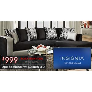 """Del Sol Exclusive 4124 Black Friday Sectional with 50"""" TV"""