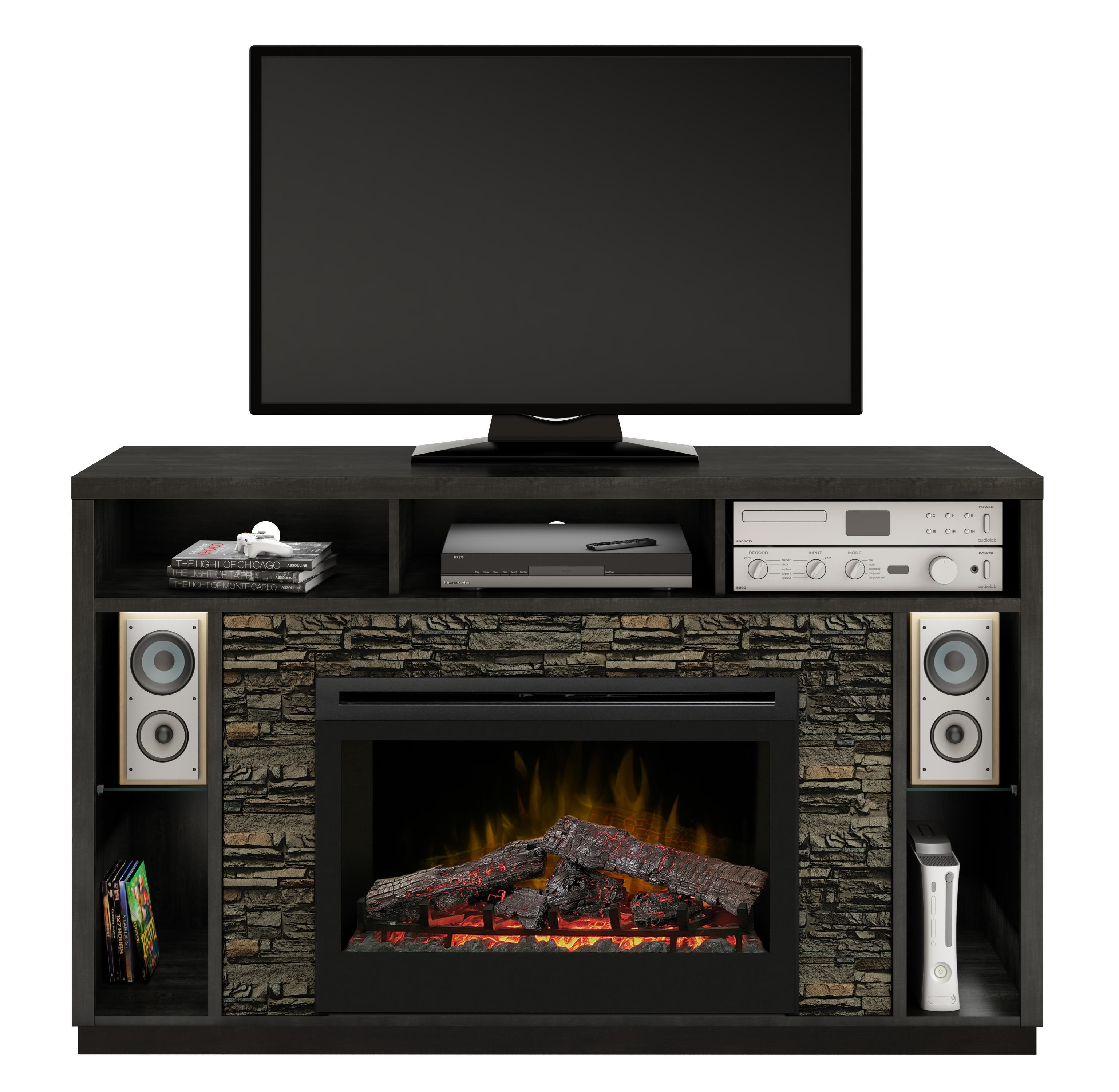 "2 pc Media Mantel with 33"" Log Firebox"