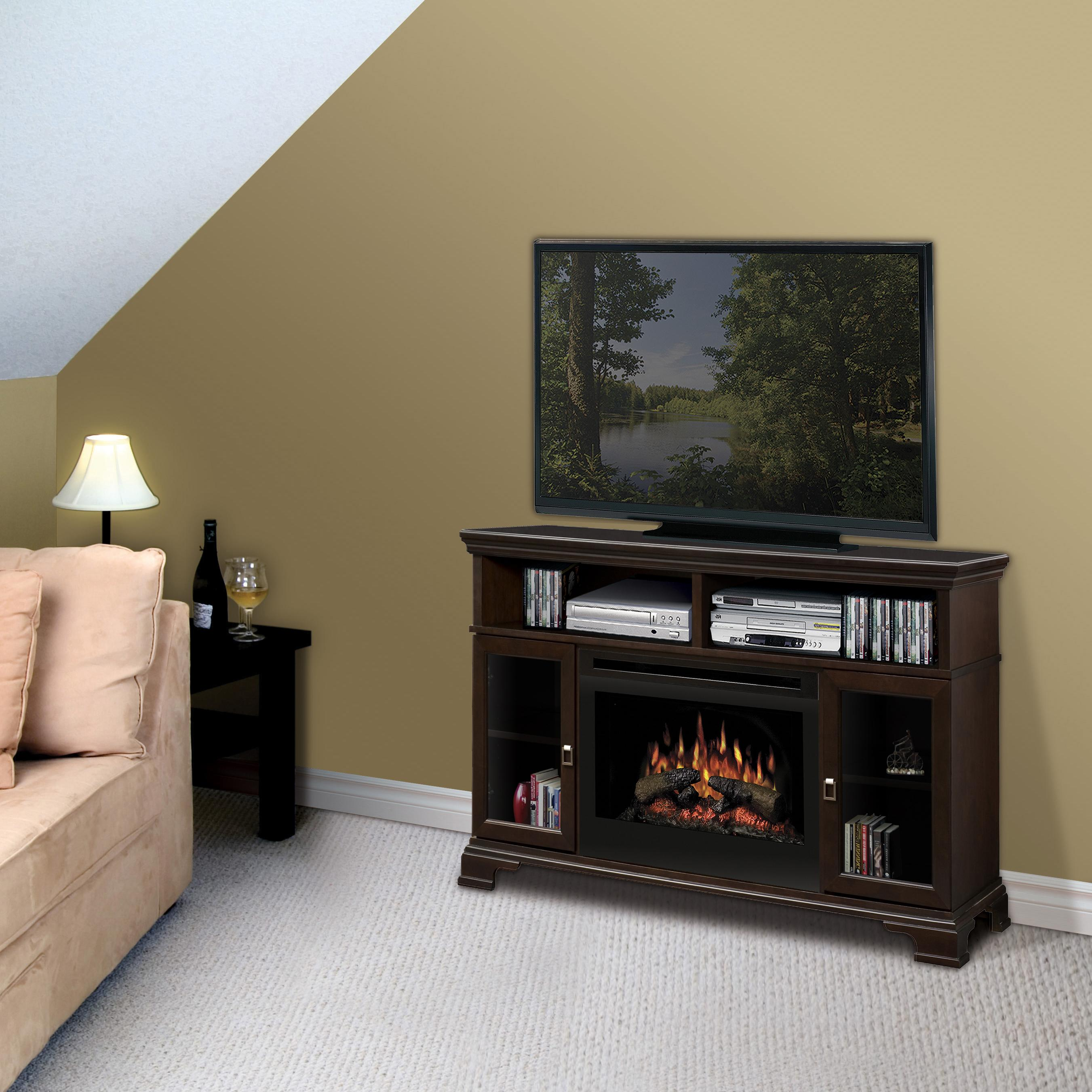 Brookings Media Console Fireplace With Logs By Dimplex