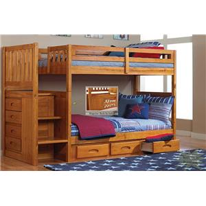 Discovery World Furniture Honey  Twin Staircase Bunk Bed