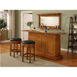 Oak Bar with Wine Rack and Stainless Steel Sink