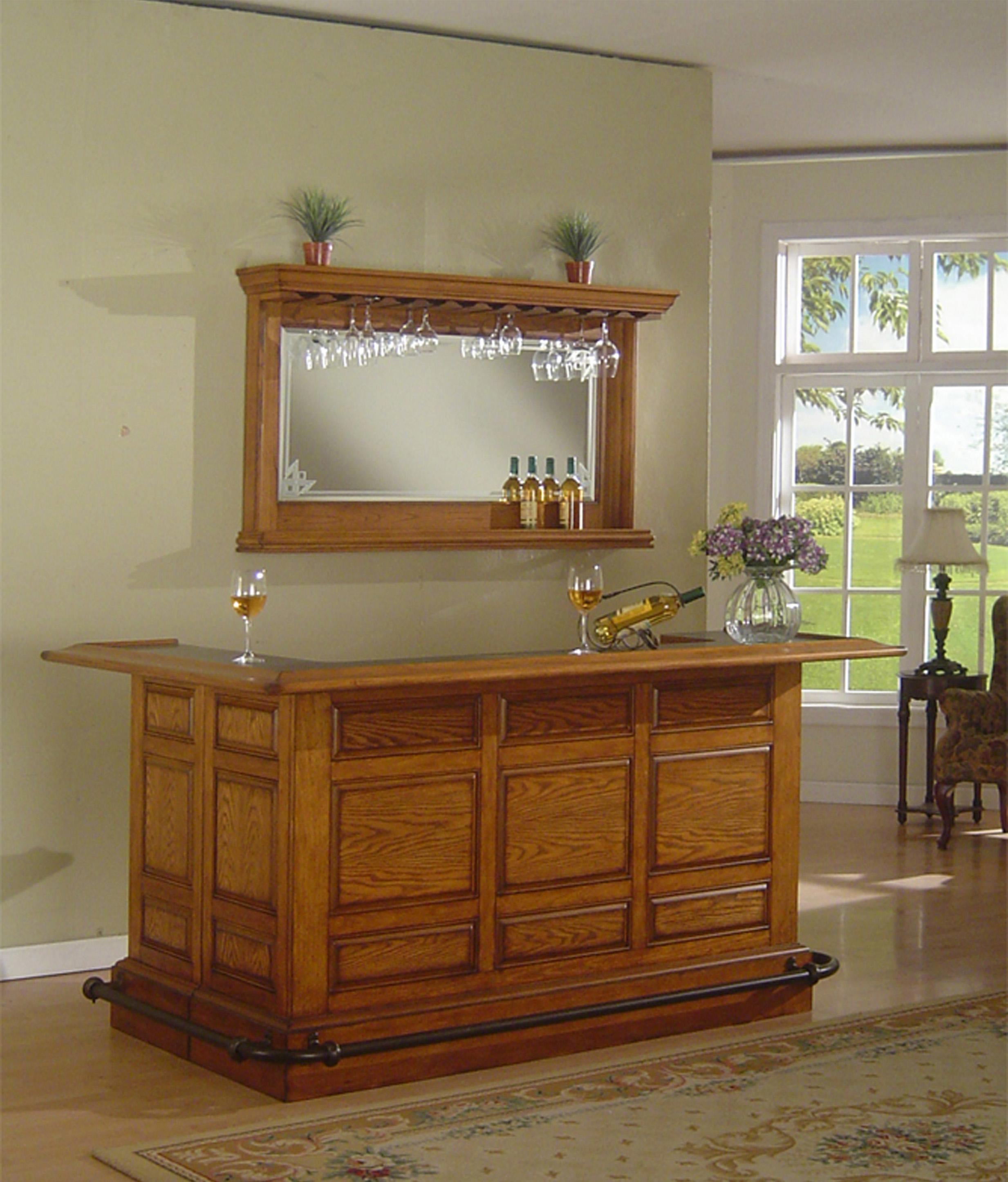 Raised Panel Bar with Antique Brass Footrail and Mirror with ...