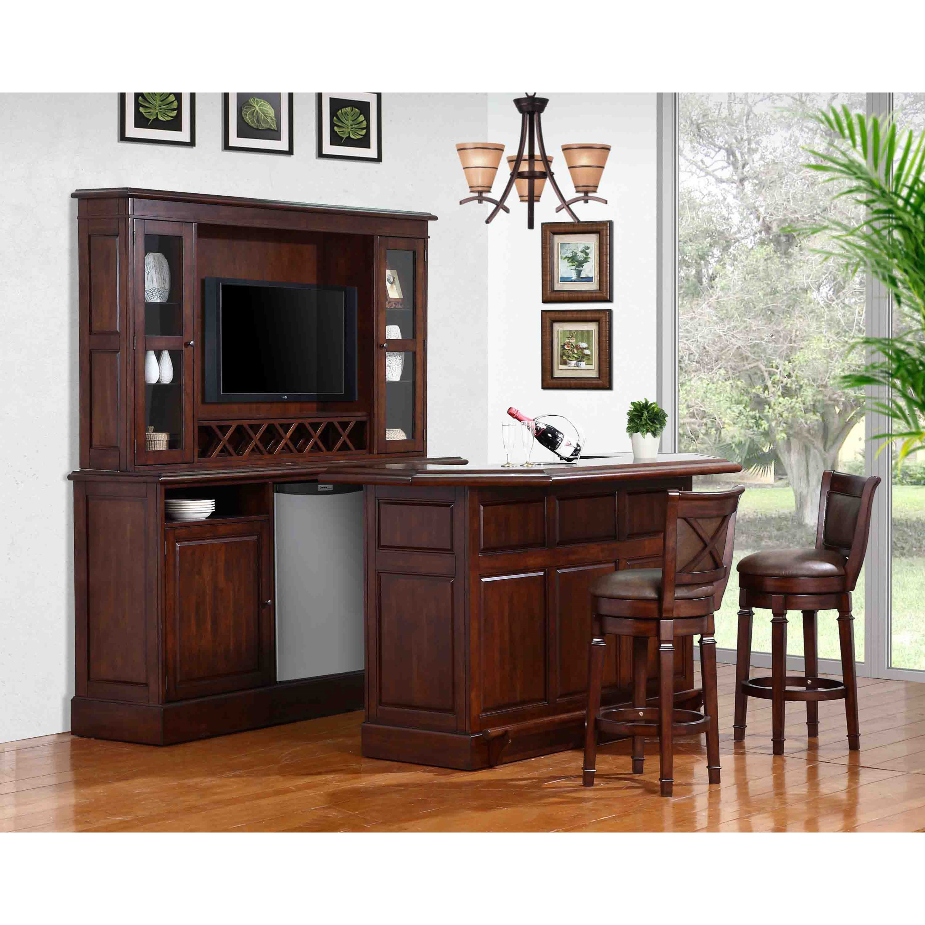 plete Bar and Stool Set with Wine Rack and Fridge Opening by