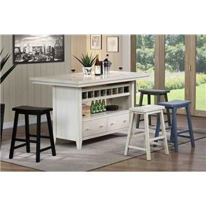 Kitchen Island with 4 Green Barstools