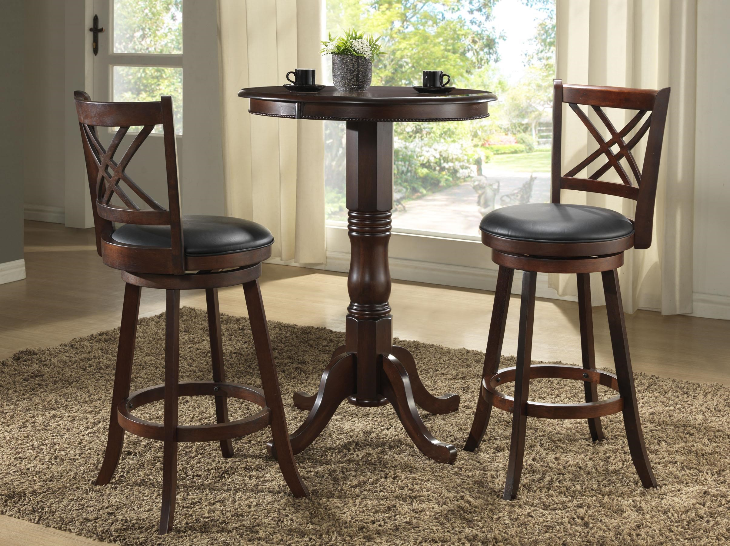 3pc Pub Table With Two 24 Inch Barstools By Eci Furniture Wolf