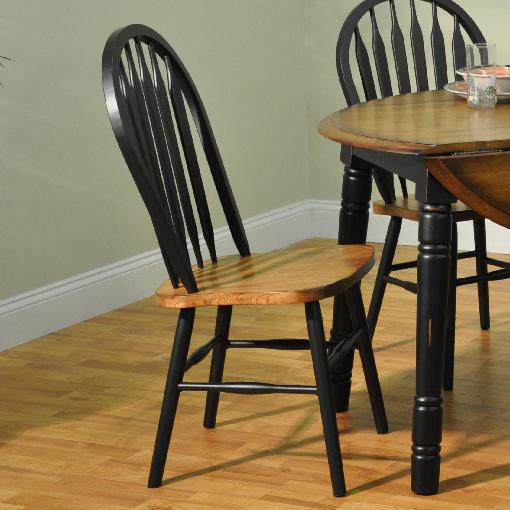 Arrow Back Solid Oak Side Chair With Black Trim
