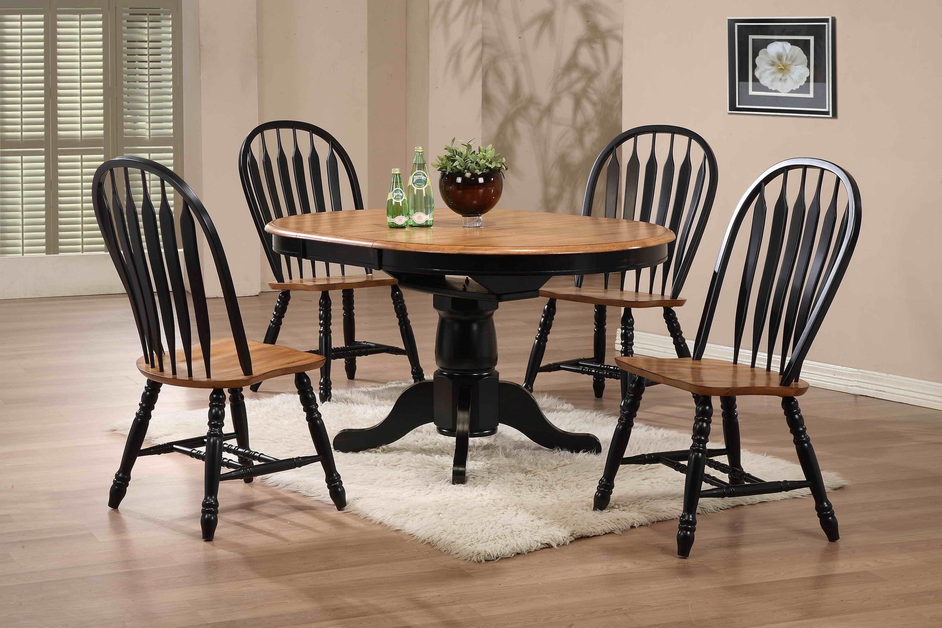 Arrow Back Solid Oak Side Chair With Black Trim By E C I