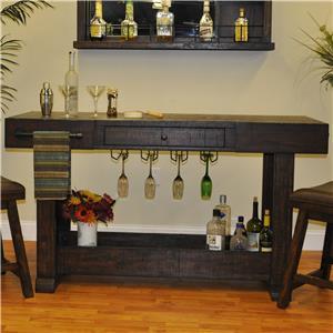 Open Island Bar with Hanging Stemware Rack