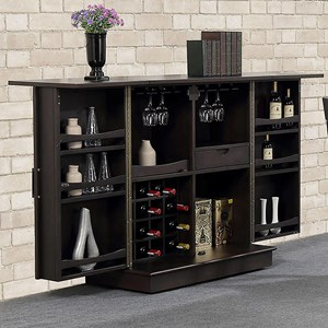 Expandable Bar with Casters and Wine/Stemware Storage
