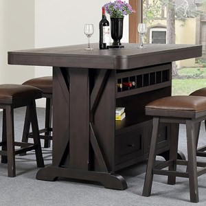 Island Table with Wine Storage and 2 Drawers