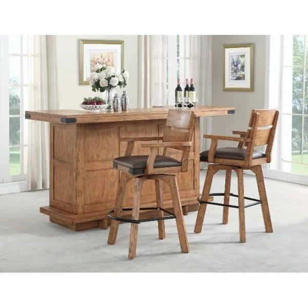 Shenandoah Bar and Upholstered Stool Set