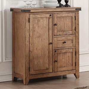 Dining Cabinet with Wine Storage and Locking Cabinets