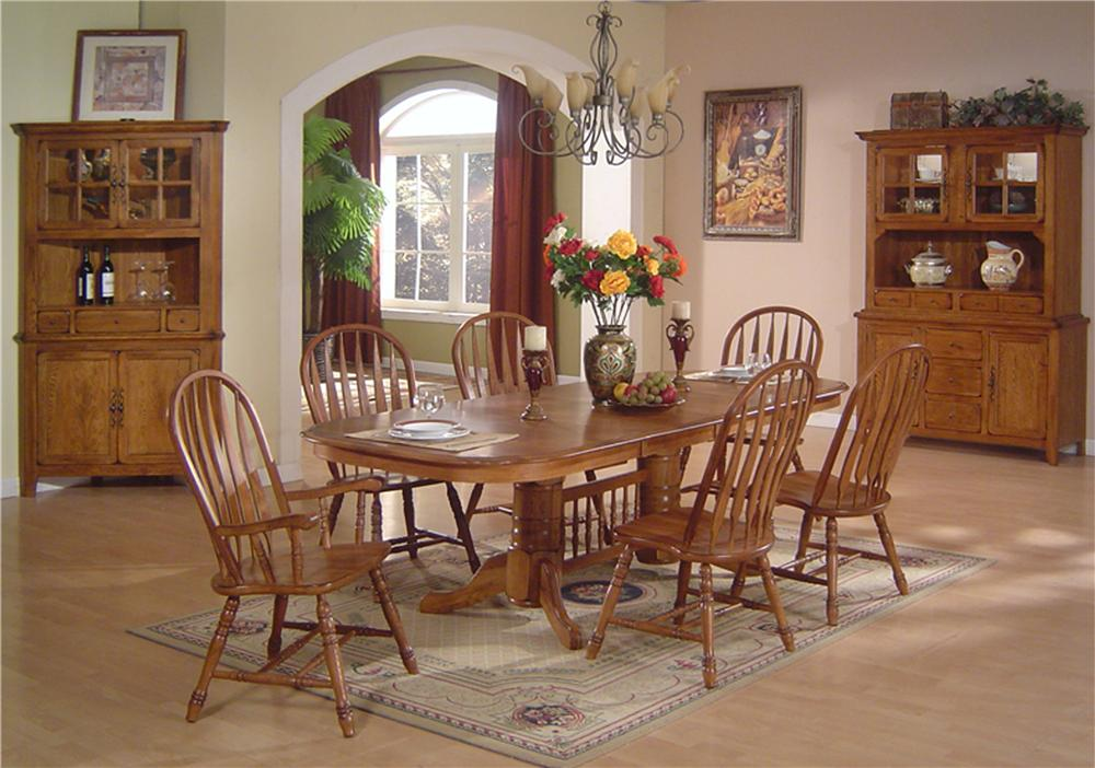 Solid Oak Dining Table Arrowback Chair Set