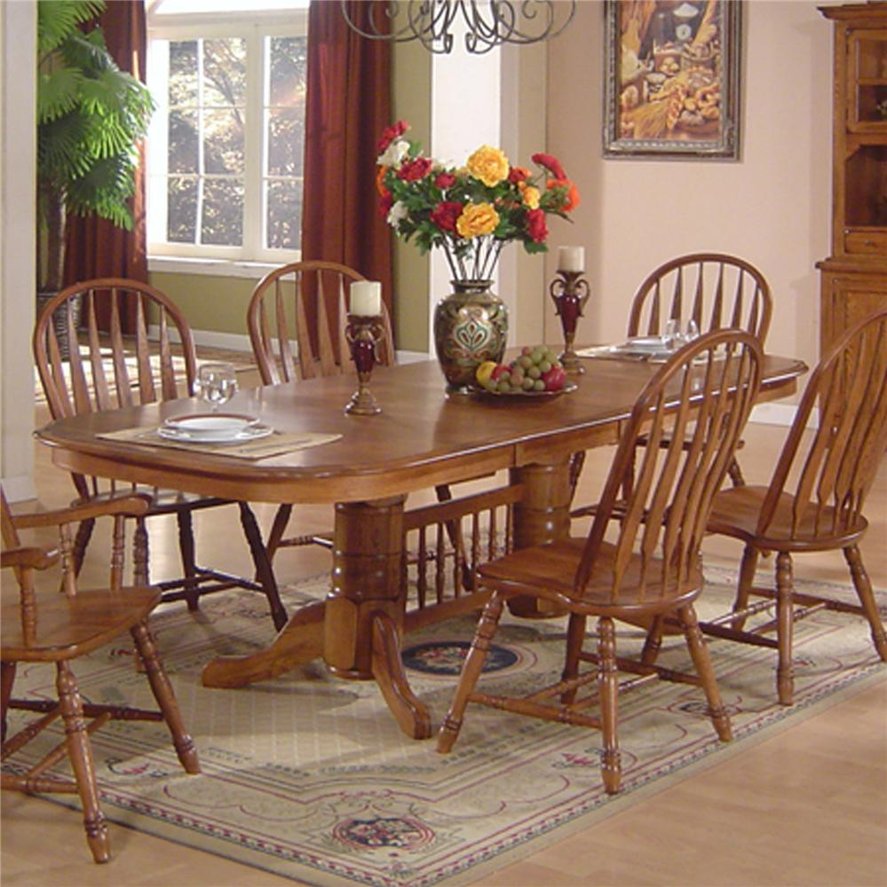 solid oak dining table arrowback chair set by e c i furniture - Colorful Dining Room Tables