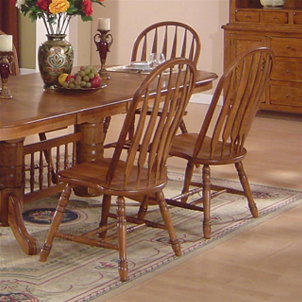 Solid oak dining table arrowback chair set by e c i for Wooden dining room furniture