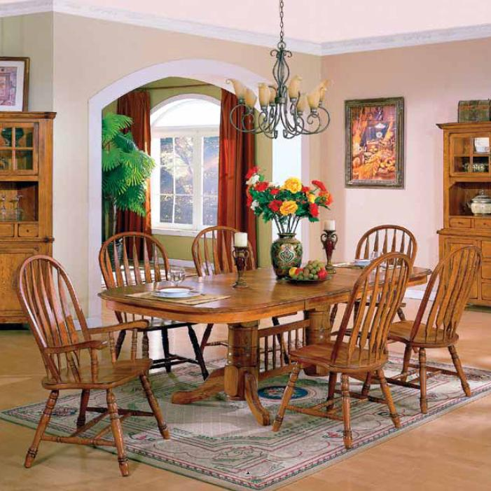 Solid American Oak Table & Windsor Back Chairs Set by E.C.I. ...