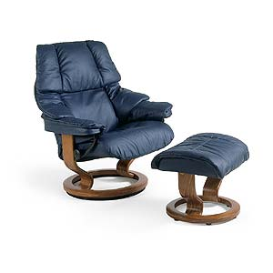 Stressless by Ekornes Stressless Recliners Reno Recliner and Ottoman