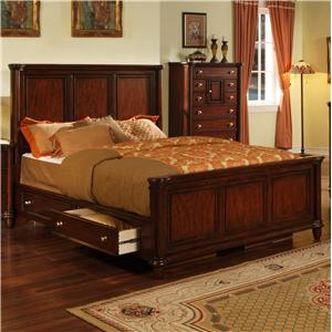Elements International Hamilton Queen Bed with Drawer Rails
