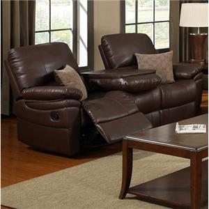 Elements International Palisades Reclining Sofa with Table