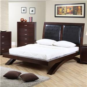 Elements International Raven King Leather Headboard Platform Bed