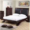 Elements International Raven Queen Faux Leather Headboard Platform Bed - Item Number: RV222QB