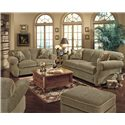 England Conner Casual Ottoman - Shown in Room Setting with Matching Sofa and Loveseat