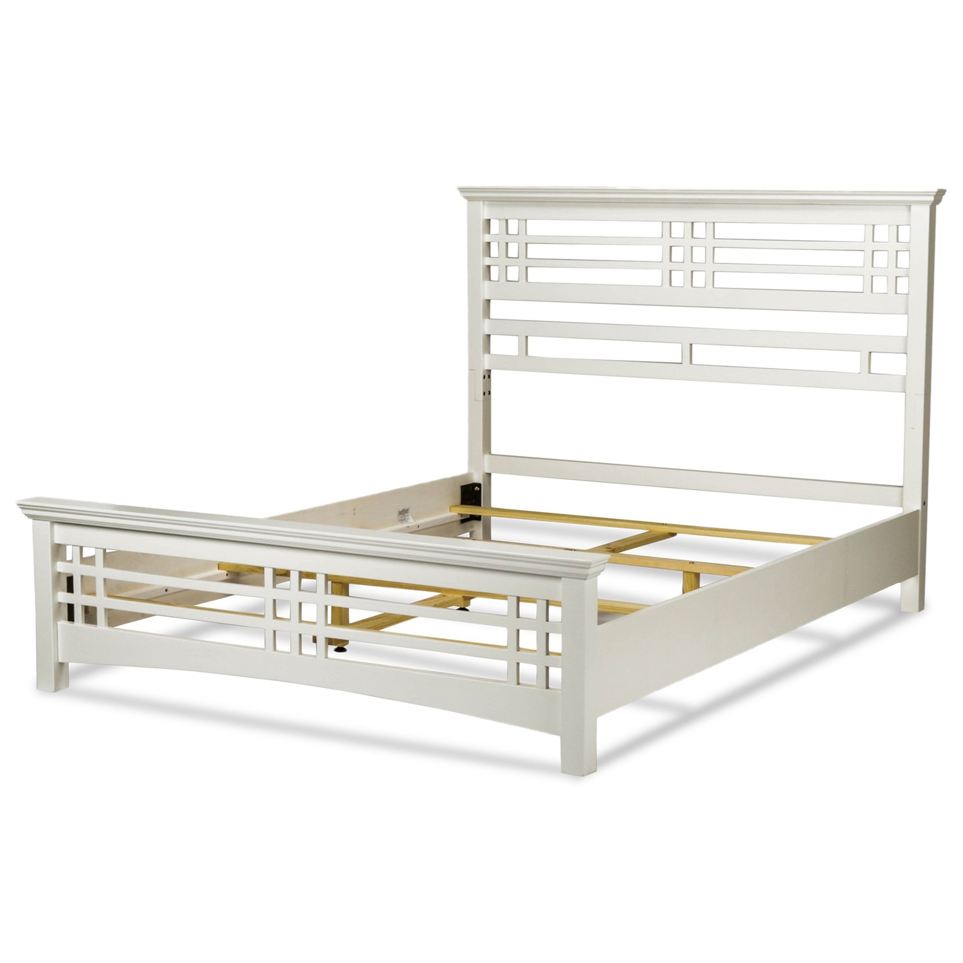 avery california king bed with wood frame and mission style design with cottage white finish