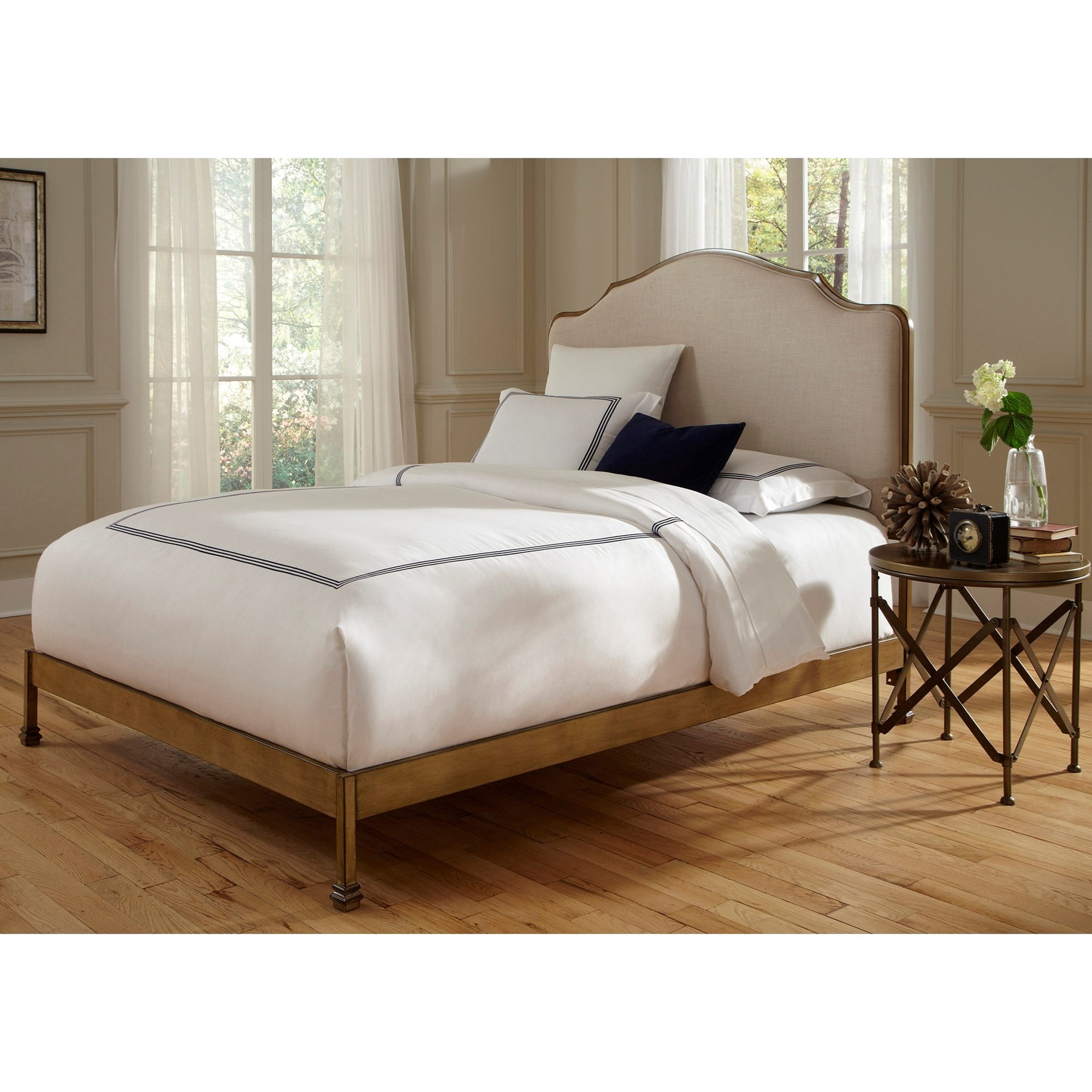 Calvados Queen Bed With Metal Headboard And Sand Colored .