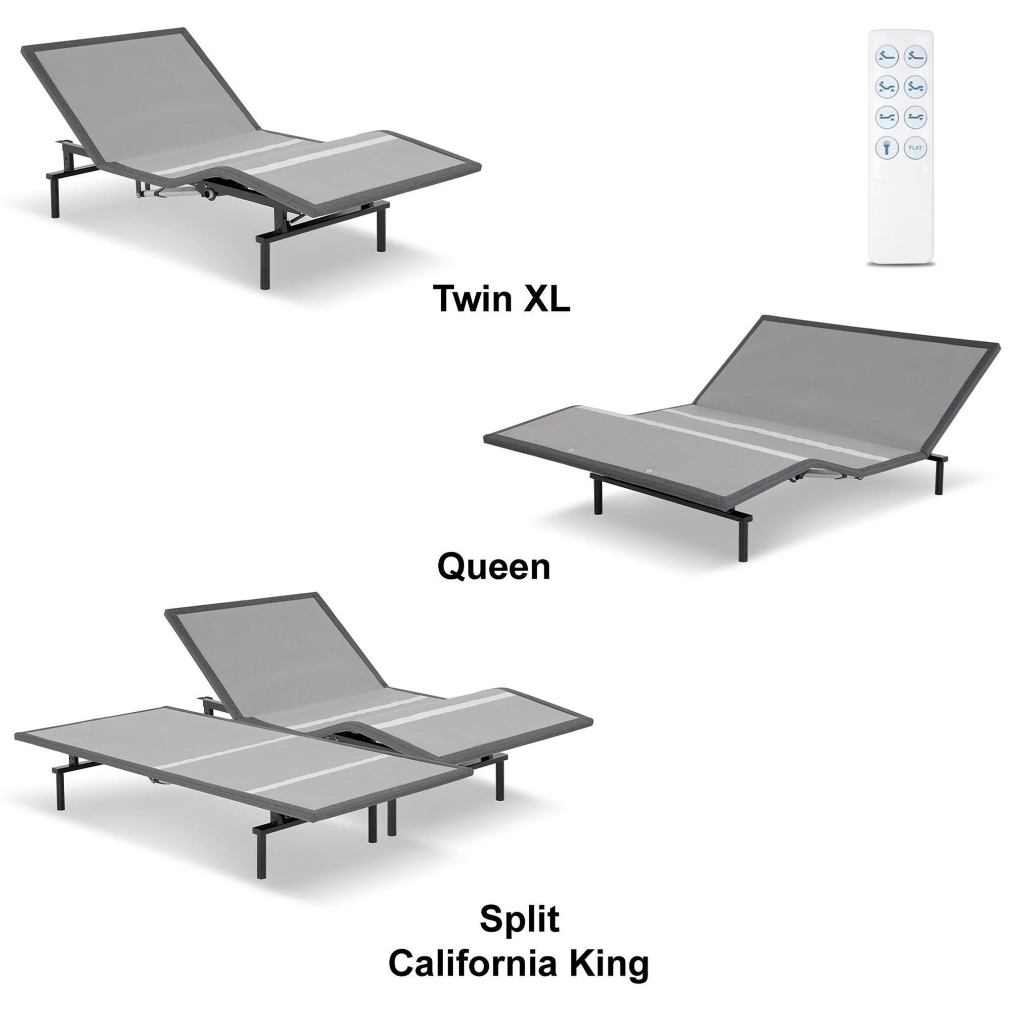 split king raven lowprofile adjustable bed base with movement and wireless flashlight remote - Split King Adjustable Bed