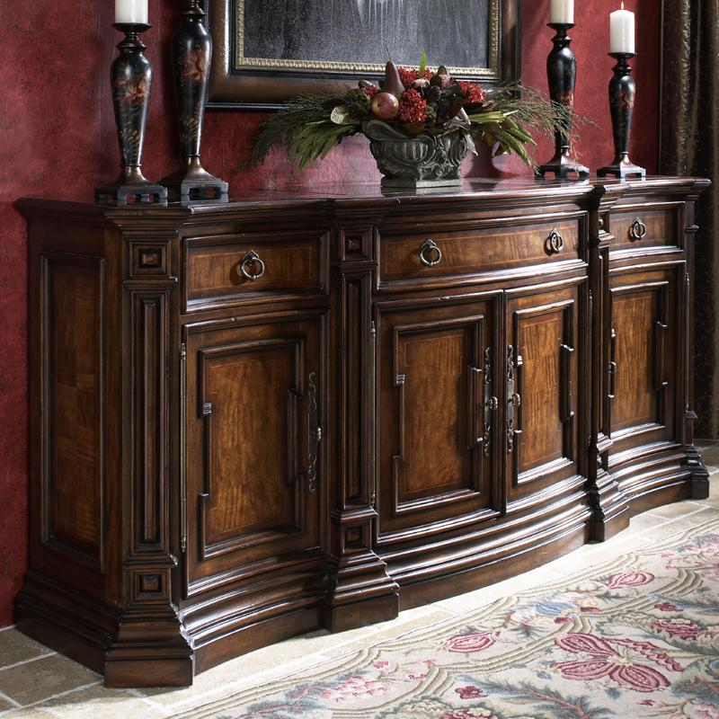 Curved Credenza Buffet With Insert Marble Top