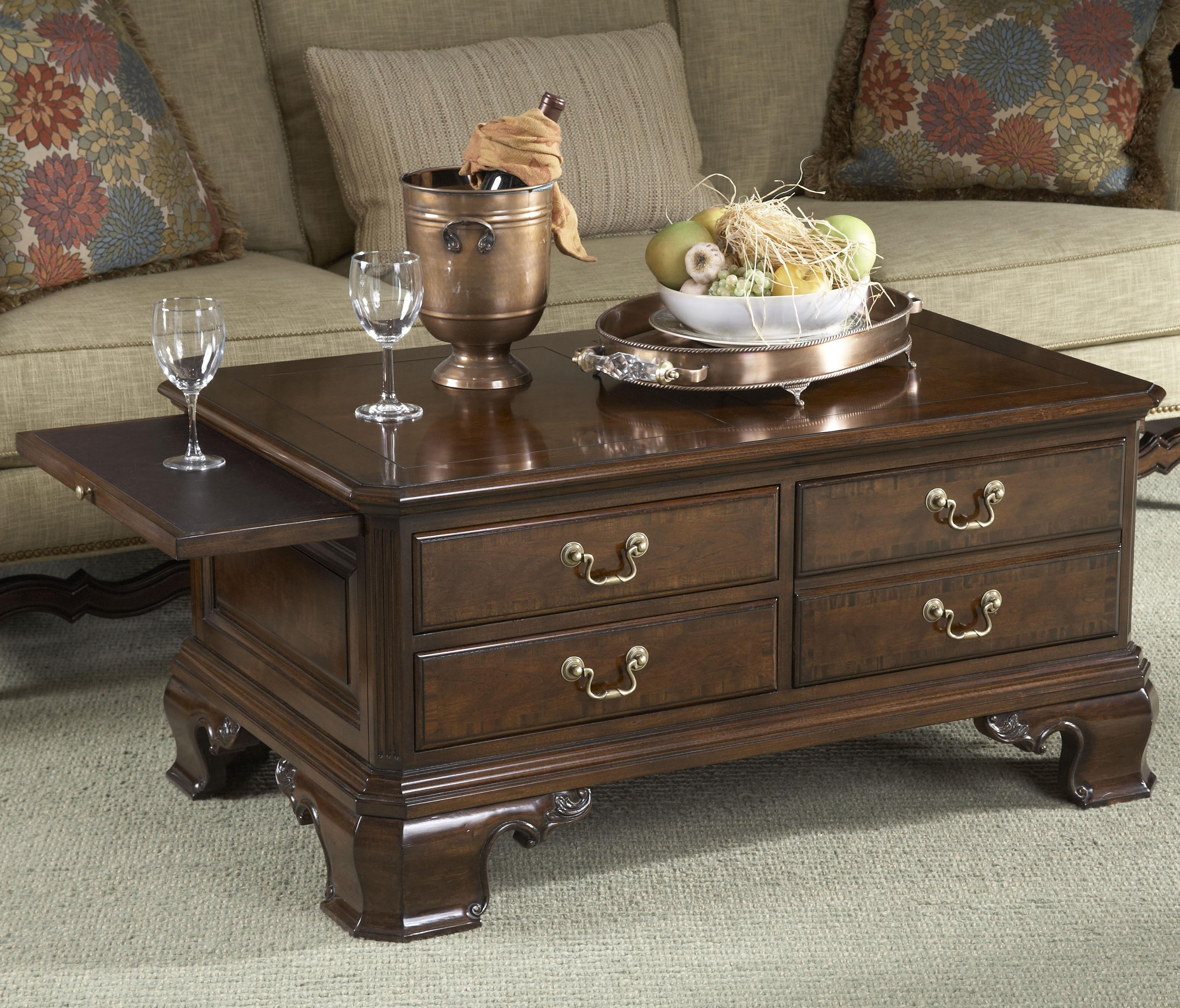 Stafford Storage Cocktail Table with Tooled Leather by Fine