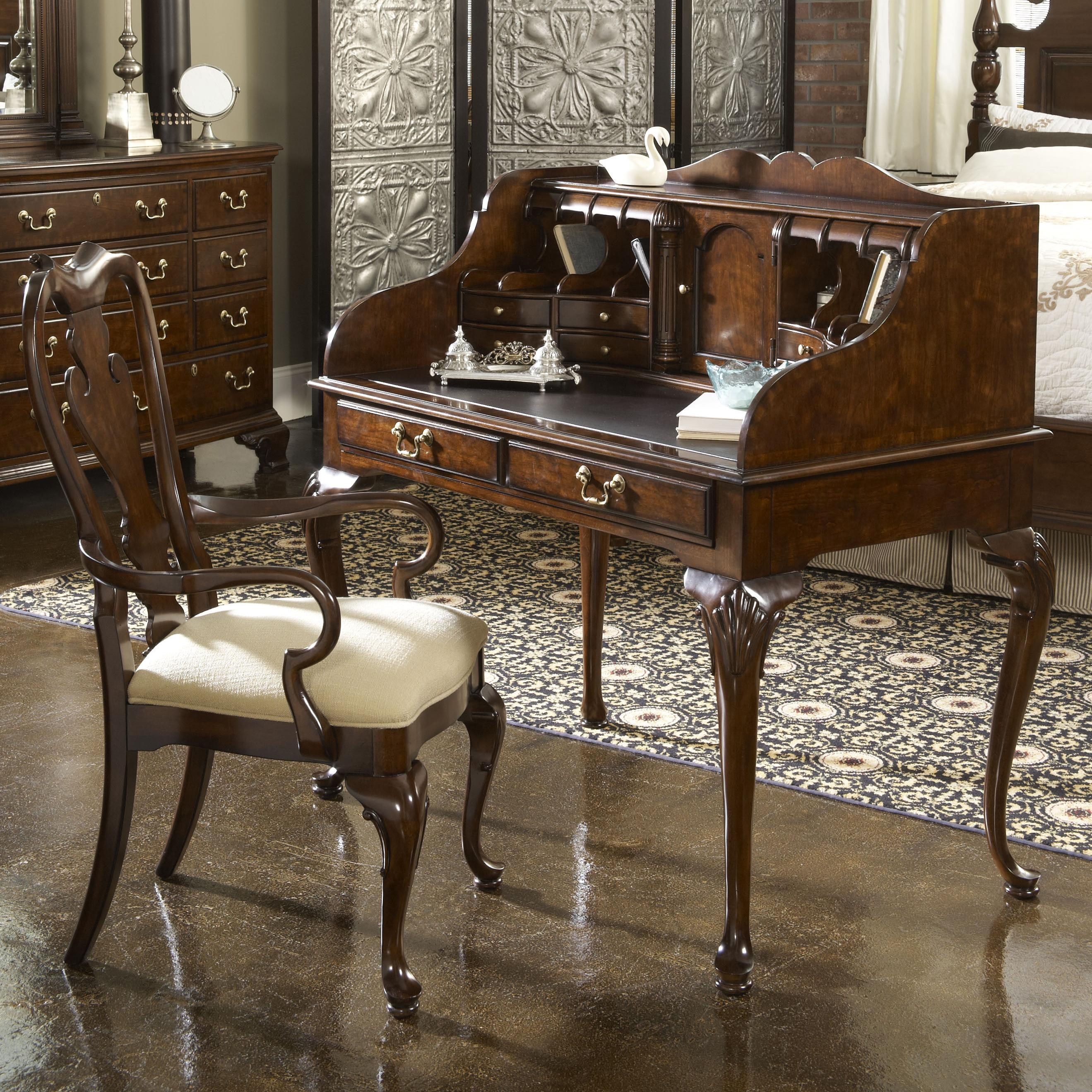 new bedford ladies desk with tooled leather top by fine furniture