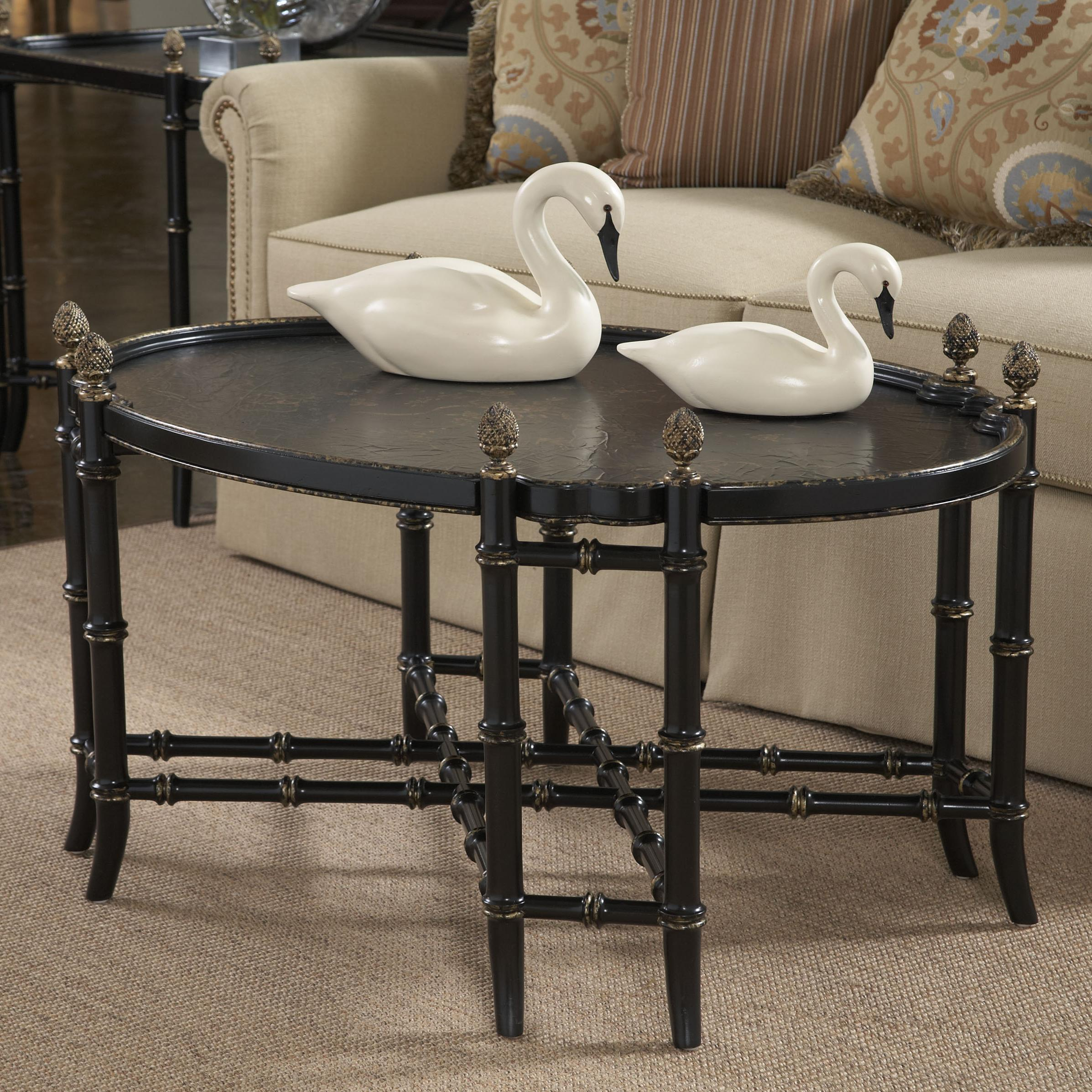 New London Chinoiserie Cocktail Table with Black and Gold