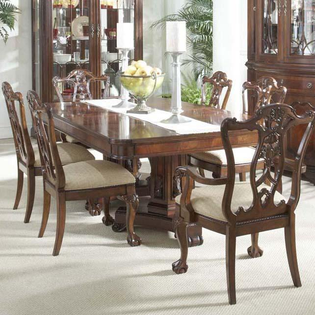 7 Piece Dining Room Set With Elegant Double Pedestal Table And Ball Call Arm