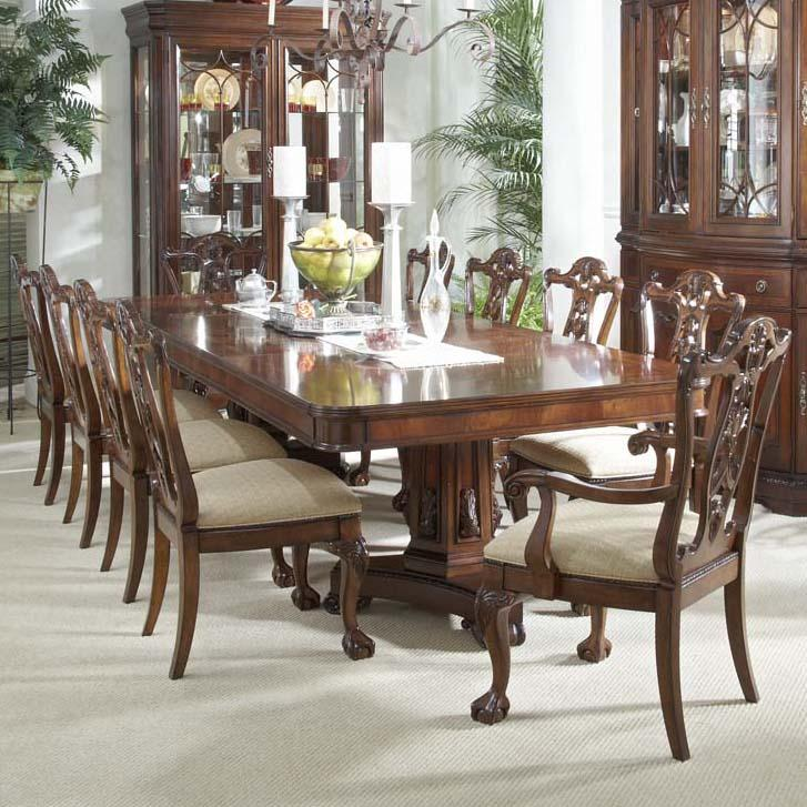 11 piece dining set with double pedestal table and ball