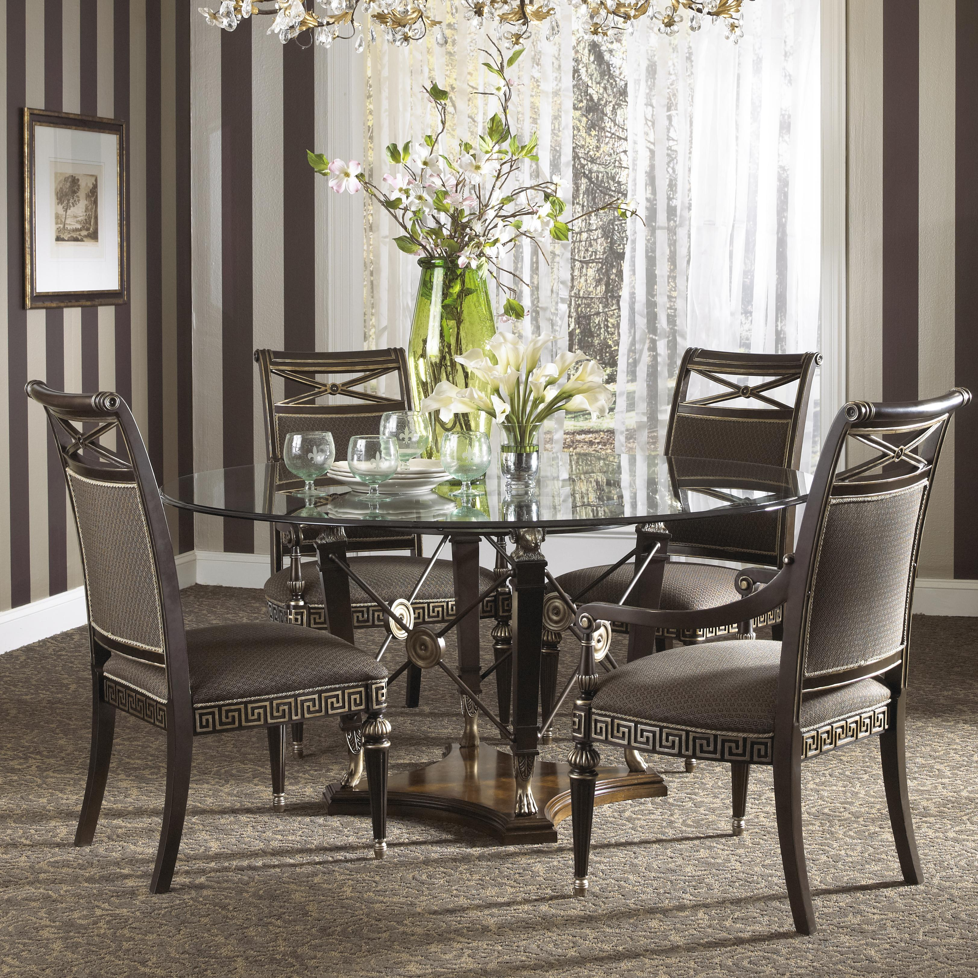 formal grecian style round dining table with glass top by fine