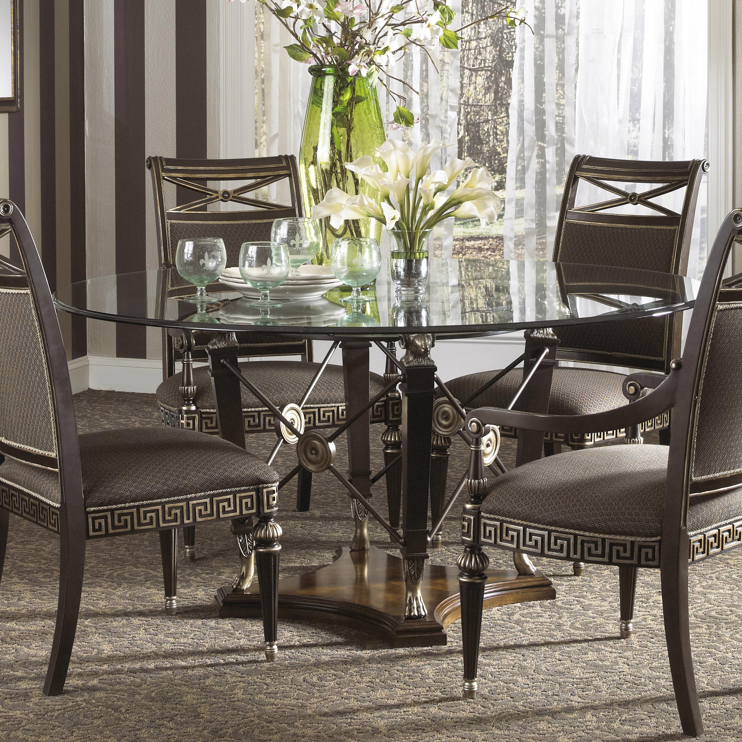 Formal grecian style round dining table with glass top by for Fine dining room furniture